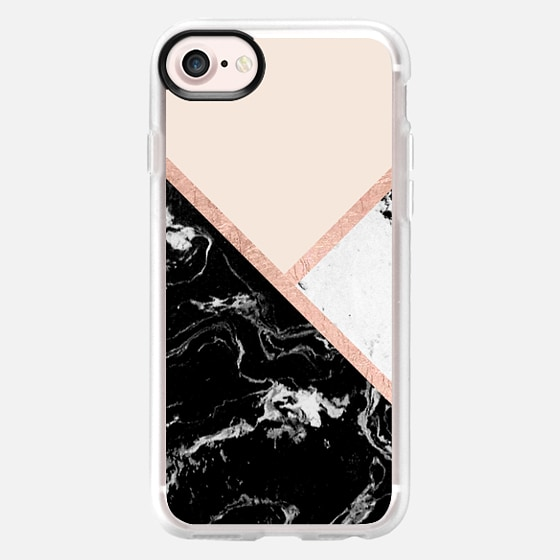 modern black white marble color block faux rose gold stripes blush pink by Girly Trend -