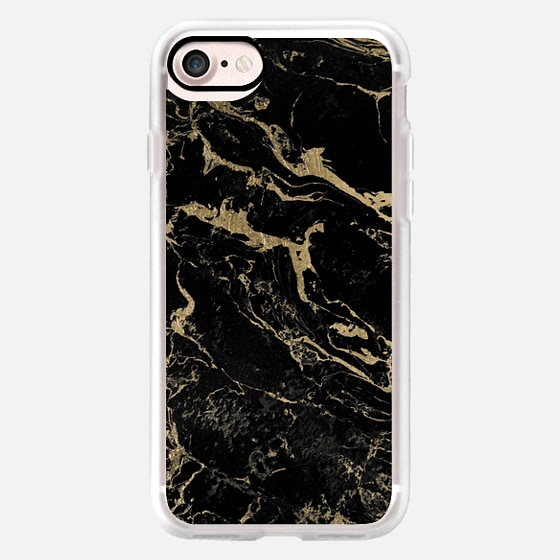 Modern chic gold foil black marble by Girly Trend -