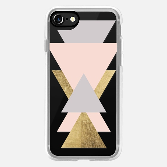 Minimalistic blush pink oyster gray faux gold leaf triangles color block by Girly Trend -