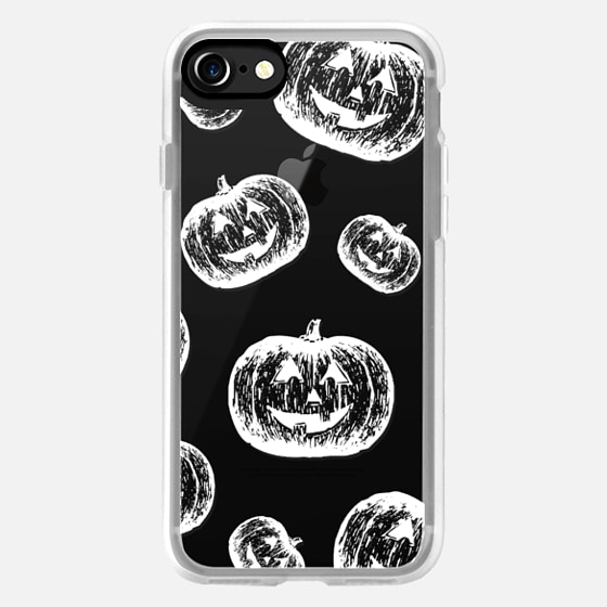 Modern white chalk halloween pumpkins pattern by Girly Trend -