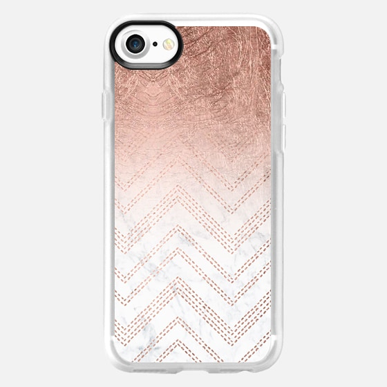 Modern faux rose gold ombre chevron stitcthes pattern white marble by Girly Trend -