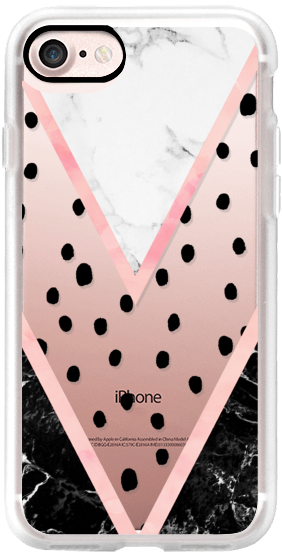 Modern pink pastel black white marble polka dots pink blush watercolor chevron color block by Girly Trend