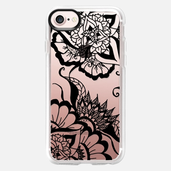 Modern black summer floral mandala by Girly Trend - Classic Grip Case