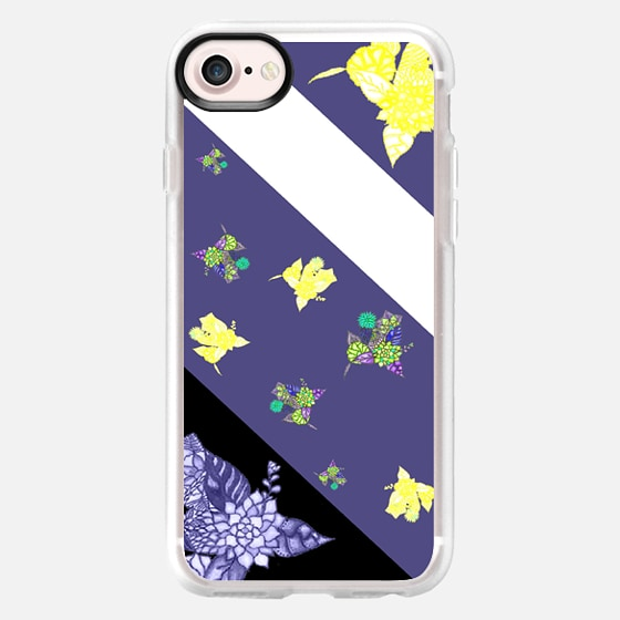 Purple black white color block floral by Girly Trend - Classic Grip Case