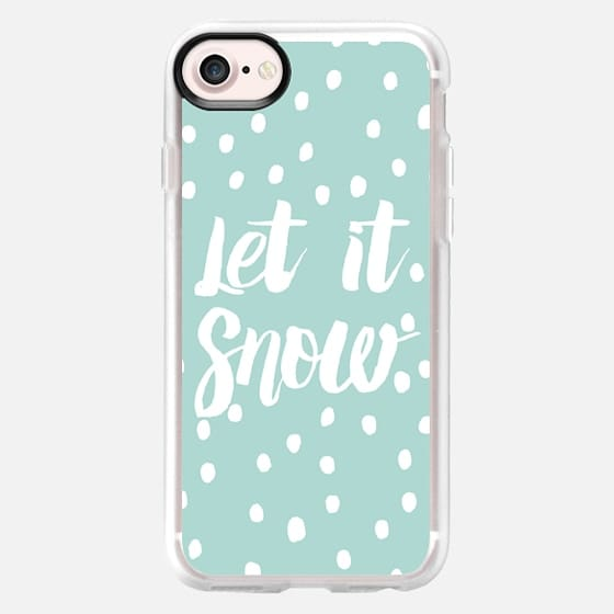 Let it snow modern typography handdrawn snowflakes by GirlyTrend - Classic Grip Case