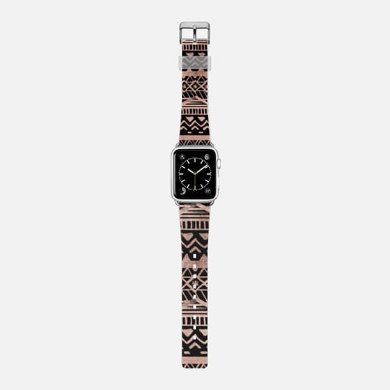 Modern chic rose gold hand drawn geometric aztec pattern on black by Girly Trend -