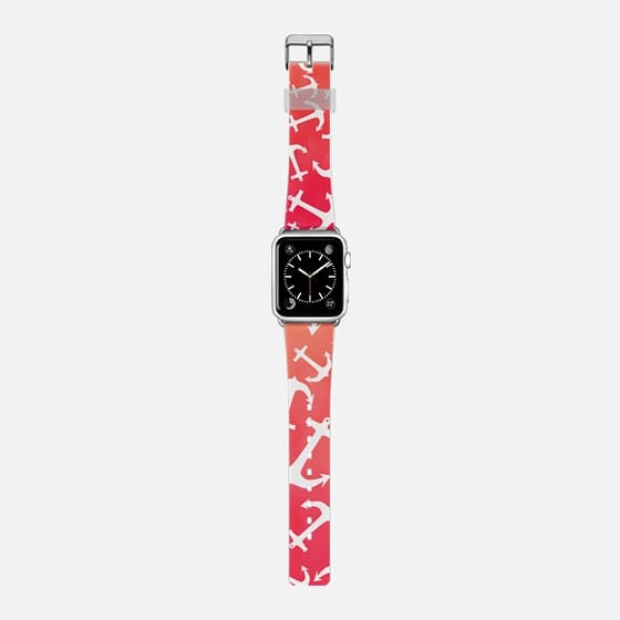 Modern white nautical anchors tropical watercolor sunset pink orange ombre by Girly Trend -