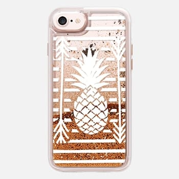 iPhone 7 Case Modern white arrows atripes pineapple illustration by Girly Trend