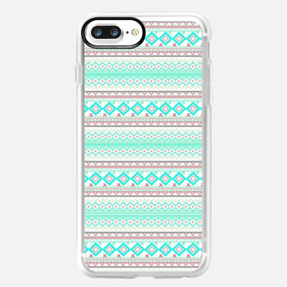 Trendy Mod Bright Teal Pink Abstract Aztec Pattern Ipad Mini -
