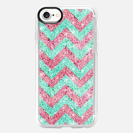 Chevron Pattern pink teal glitter photo print -