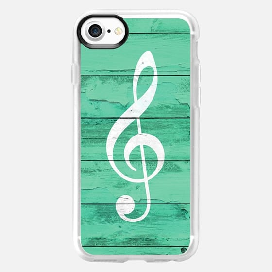 Hipster White Music Note Girly Turquoise Wood -