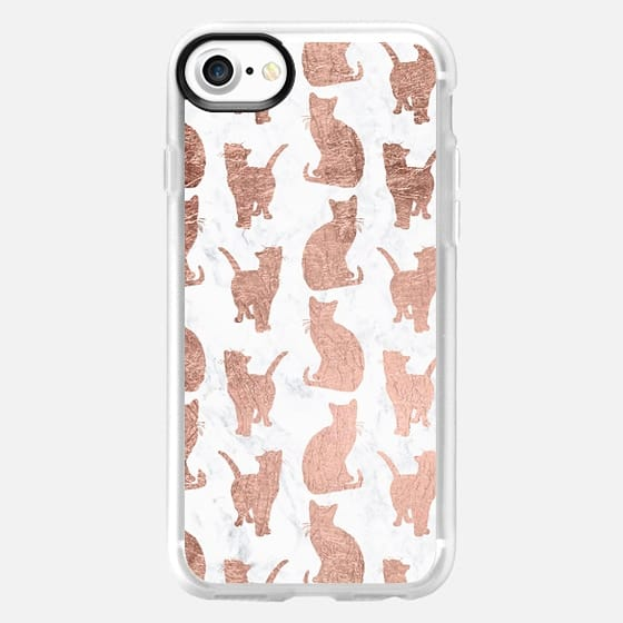 Modern faux rose gold kitten cats pattern white marble by Girly Trend -