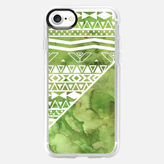 Modern greenery watercolor paint aztec pattern color block green background by Girly Trend -