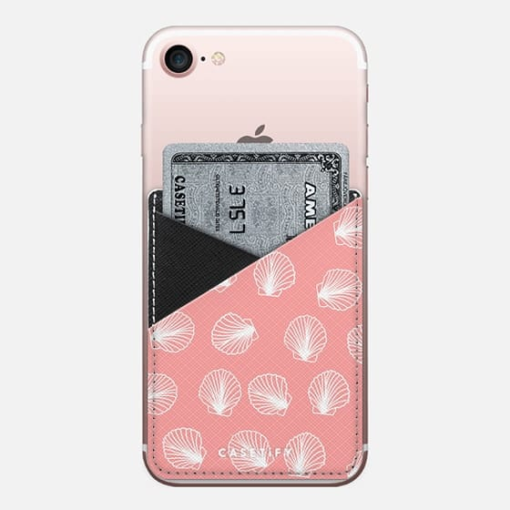 Modern mermaid white seashells hand drawn pattern on pink by Girly Trend - Saffiano Leather Phone Wallet