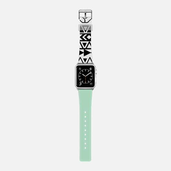 Mint green color block coral stripe black and white aztec pattern watch -