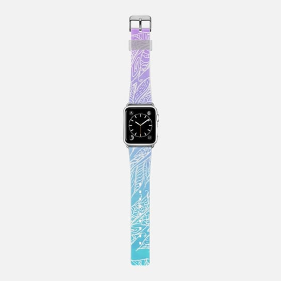 whimsical teal purple ombre white tribal feathers pattern Apple watch -