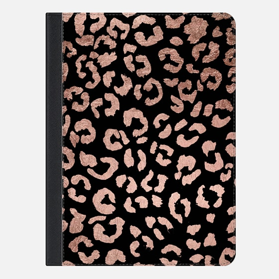 iPad Air 2 Hülle - Modern rose gold leopard hand drawn print pattern on black by Girly Trend