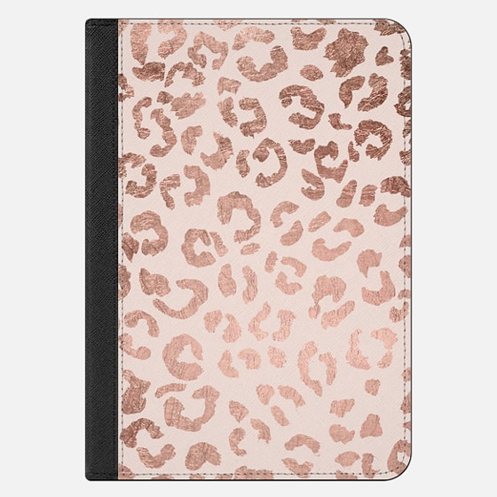 iPad Mini 4 Case - Modern hand drawn rose gold leopard print pattern blush pink by Girly Trend
