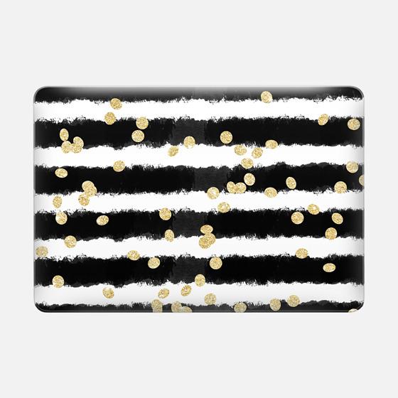 Macbook Air 13 Case - Modern black watercolor stripes chic gold confetti