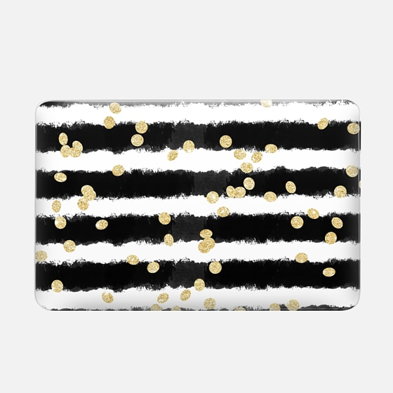Macbook Air 11 Case - Modern black watercolor stripes chic gold confetti