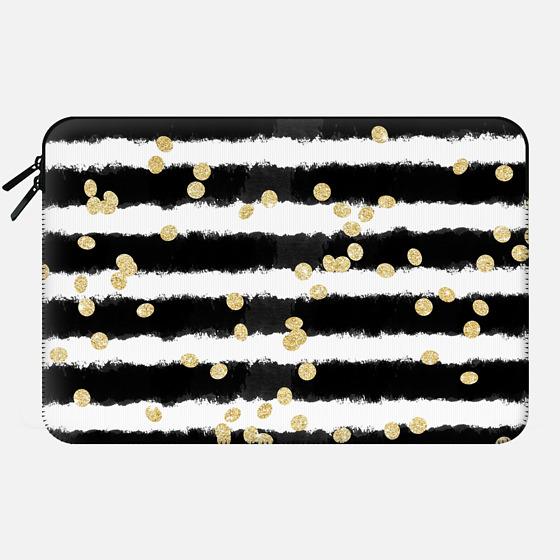Macbook 12 Sleeve - Modern black watercolor stripes chic gold confetti