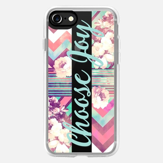 Modern choose joy typography quote teal pink floral chevron pattern by Girly Trend -