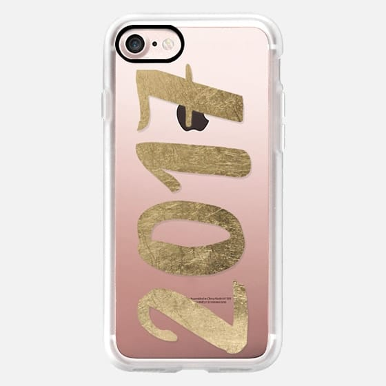 Modern faux gold foil New year 2017 typography by Girly Trend -