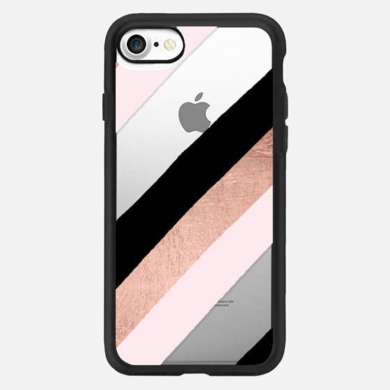 Modern black blush pink rose gold handdrawn stripes pattern by Girly Trend -