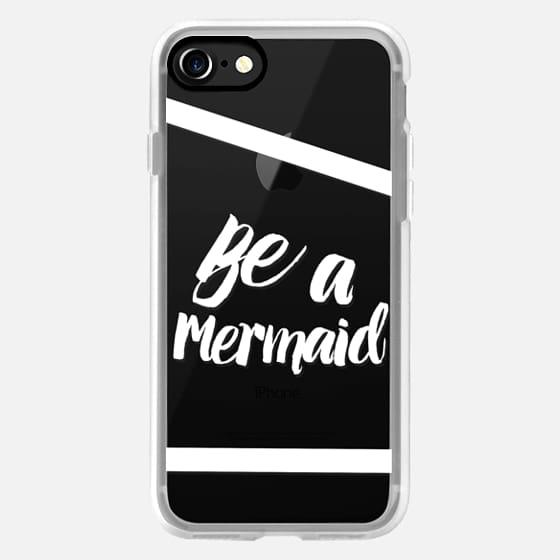 Modern white typography be a mermaid quote stripes by Girly Trend -