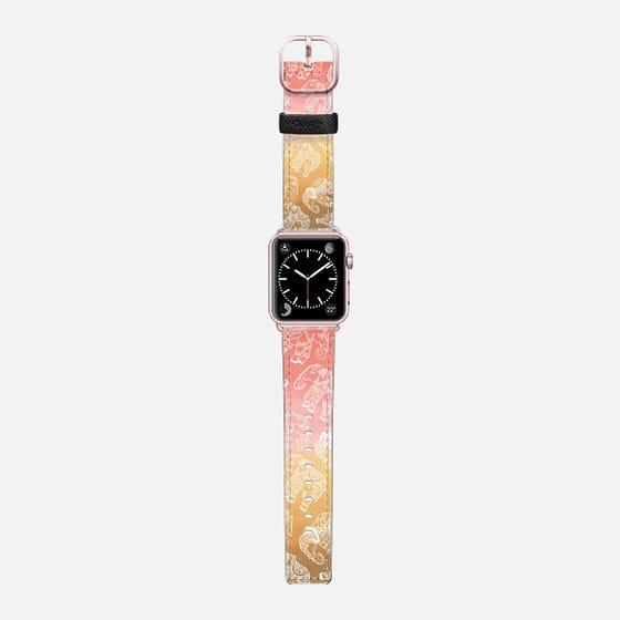 Modern hand drawn mandala floral elephants pink brown desert boho watercolor. - Saffiano Leather Watch Band