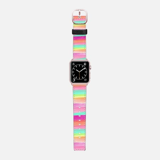 Modern summer pastel watercolor rainbow hand drawn stripes pink turquoise by Girly Trend - Saffiano Leather Watch Band