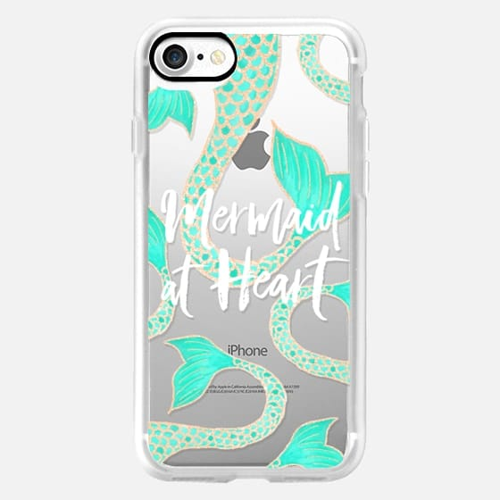 Modern mermaid at heart typography quote turquoise gold fish scale tail by Girly Trend -