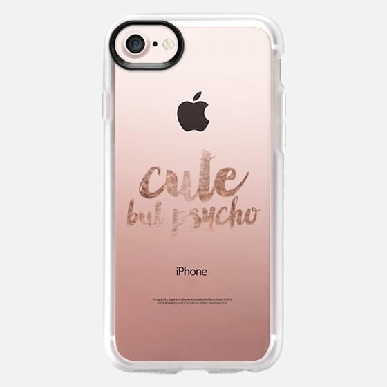 Modern Cute but psycho hand lettering typography rose gold -