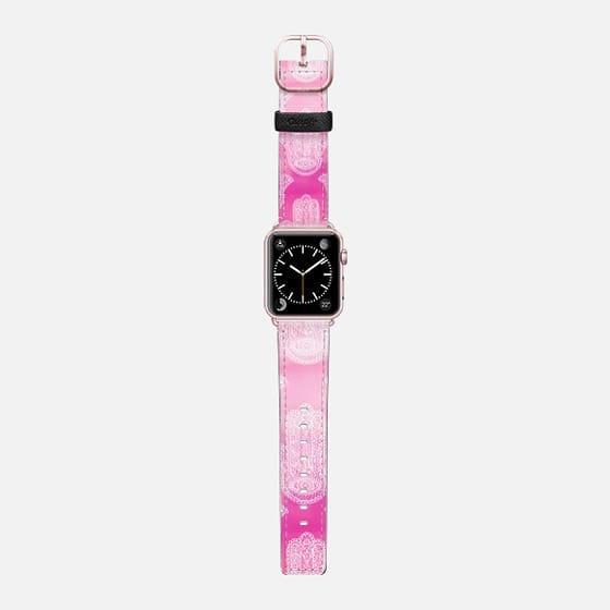 Modern white floral lace hamsa hand of fatima illustration on pink watercolor by Girly Trend - Saffiano Leather Watch Band