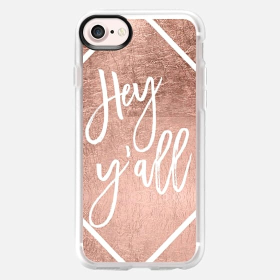 Modern quote Hey y'all white rose gold typography by Girly Trend -