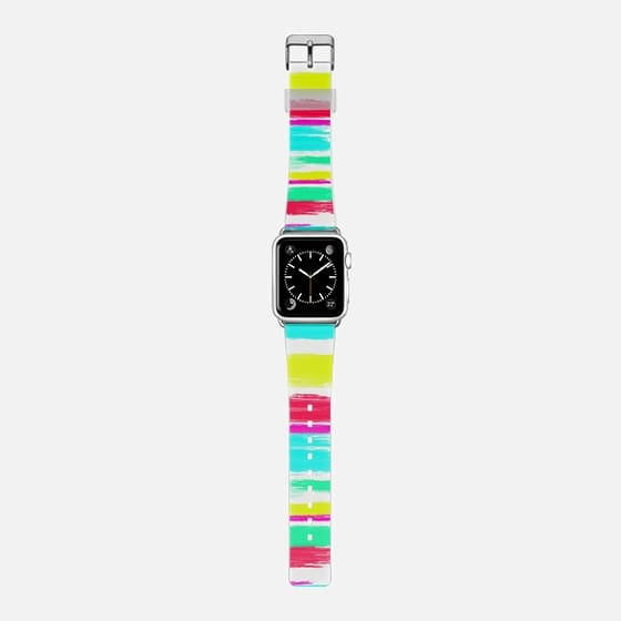 Modern bright watercolor neon color rainbow hand painted stripes paint pattern by Girly Trend -