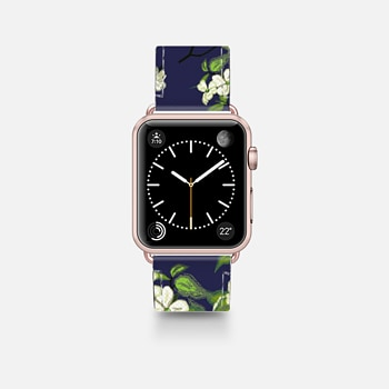 Leather Watch Band -  April blooms(Dogwoods-blue)