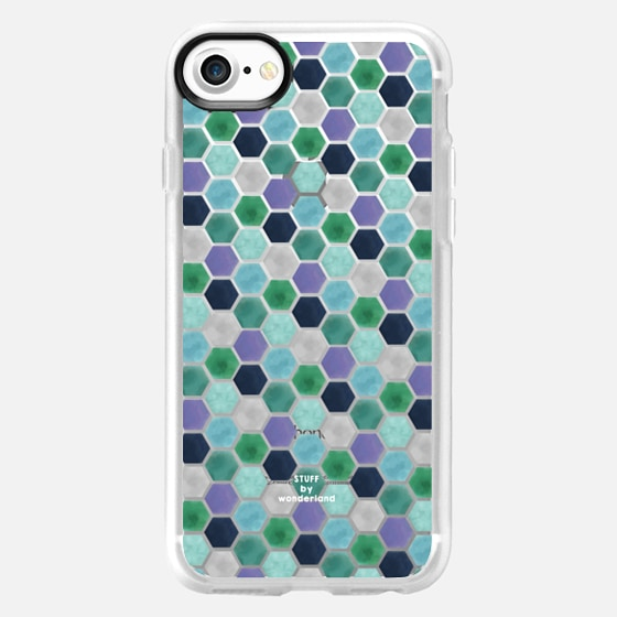 Mermaid Hexagonal Tile Transparent iPhone Case - Classic Grip Case