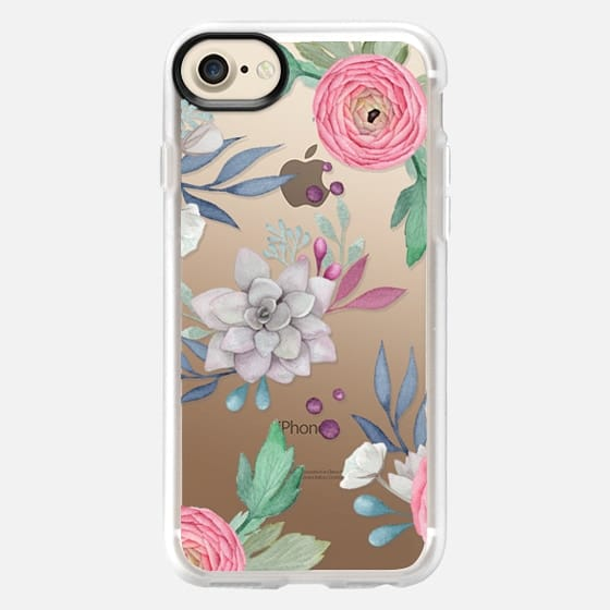 Pink Floral Succulents Feminine Chic Nature Transparent Case 030 - Snap Case