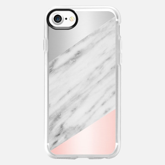 Pink Grey and Marble Collage - Wallet Case