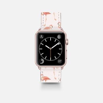 Apple Watch Band (42mm)  FLAMINGO PATTERN -Pink Background- Apple Watch