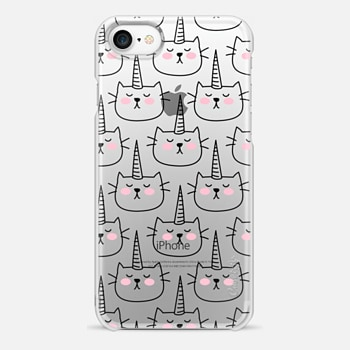 iPhone 7 Case Caticorn - Cat - Unicorn - Pattern - Black - Transparent
