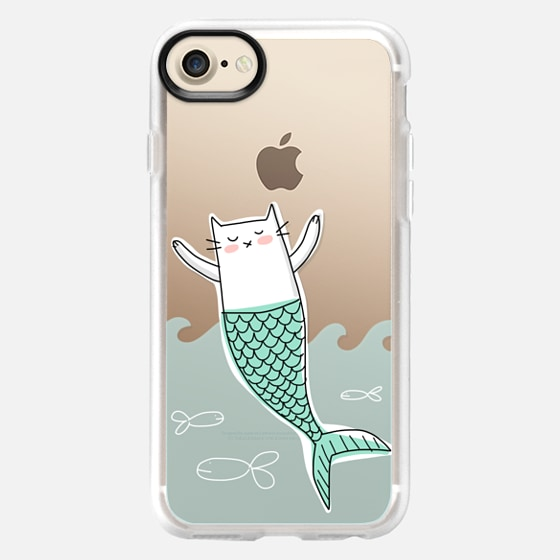 Mermaid Cat with Little Fish - Wallet Case