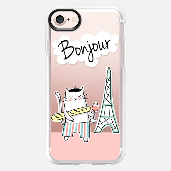 Bonjour - French Cat in Paris - Travel Serie - Coral Pink - Wallet Case