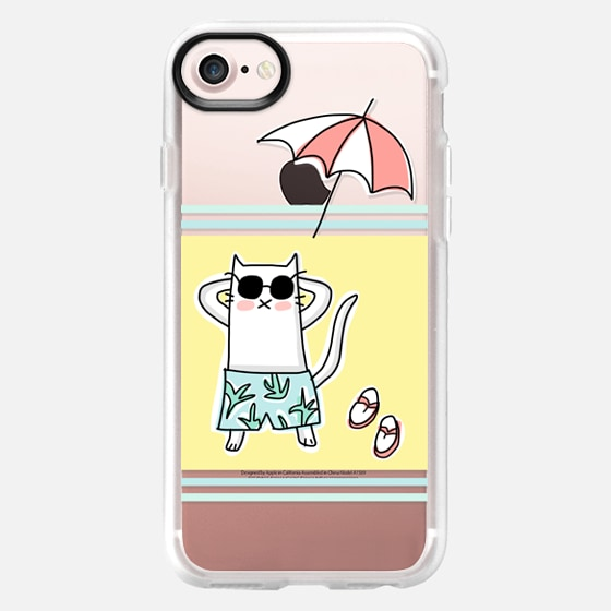 Cat on the Beach - With Flip Flops and Umbrella - Summer Fun - Yellow - Wallet Case