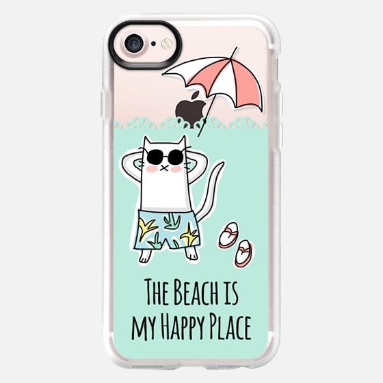 Summer Cat - The Beach is my Happy Place Quote - Mint Green - Wallet Case