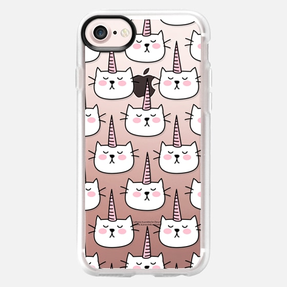 Caticorn Cat Unicorn Pattern - White Pink Black - Transparent - Wallet Case