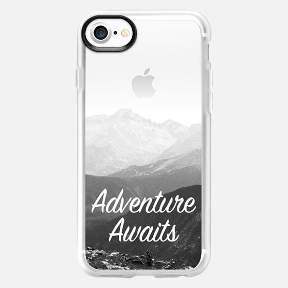 Adventure Awaits - Colorado Rocky Mountains - Hiking - Travel - Black - White - Wallet Case