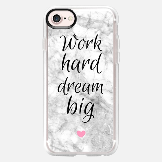 Marble Quote - Work hard dream big - Pink Heart - Wallet Case