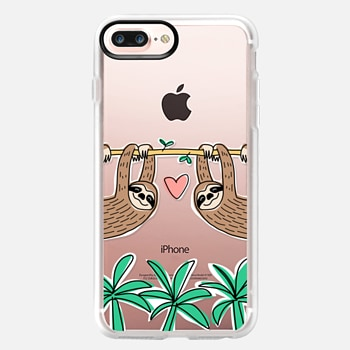 iPhone 7 Plus Case Sloth Couple - Tropical Animal - Love - Pink Heart